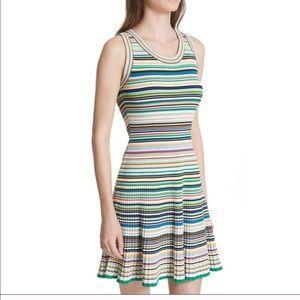 Milly Micro Stripe Flare Dress Rainbow Striped